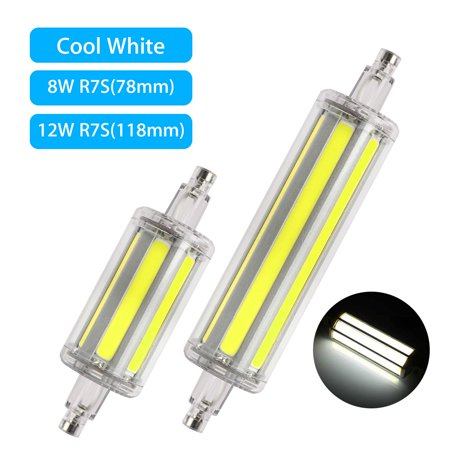 78/118mm R7S LED Bulb 8W/12W Halogen Equivalent Replacement Bulb, AC 85V - 265V, J Type R7S Base Double Ended Tungsten Daylight White, Not Dimmable