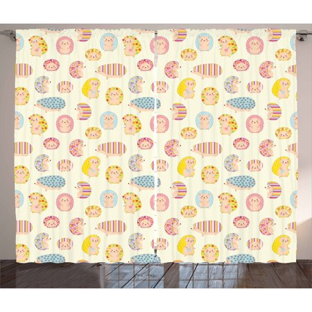 Hedgehog Curtains 2 Panels Set, Smiling Baby Characters with Dotted Floral and Striped Prints Kids Toddler Nursery, Window Drapes for Living Room Bedroom, 108W X 84L Inches, Multicolor, by Ambesonne