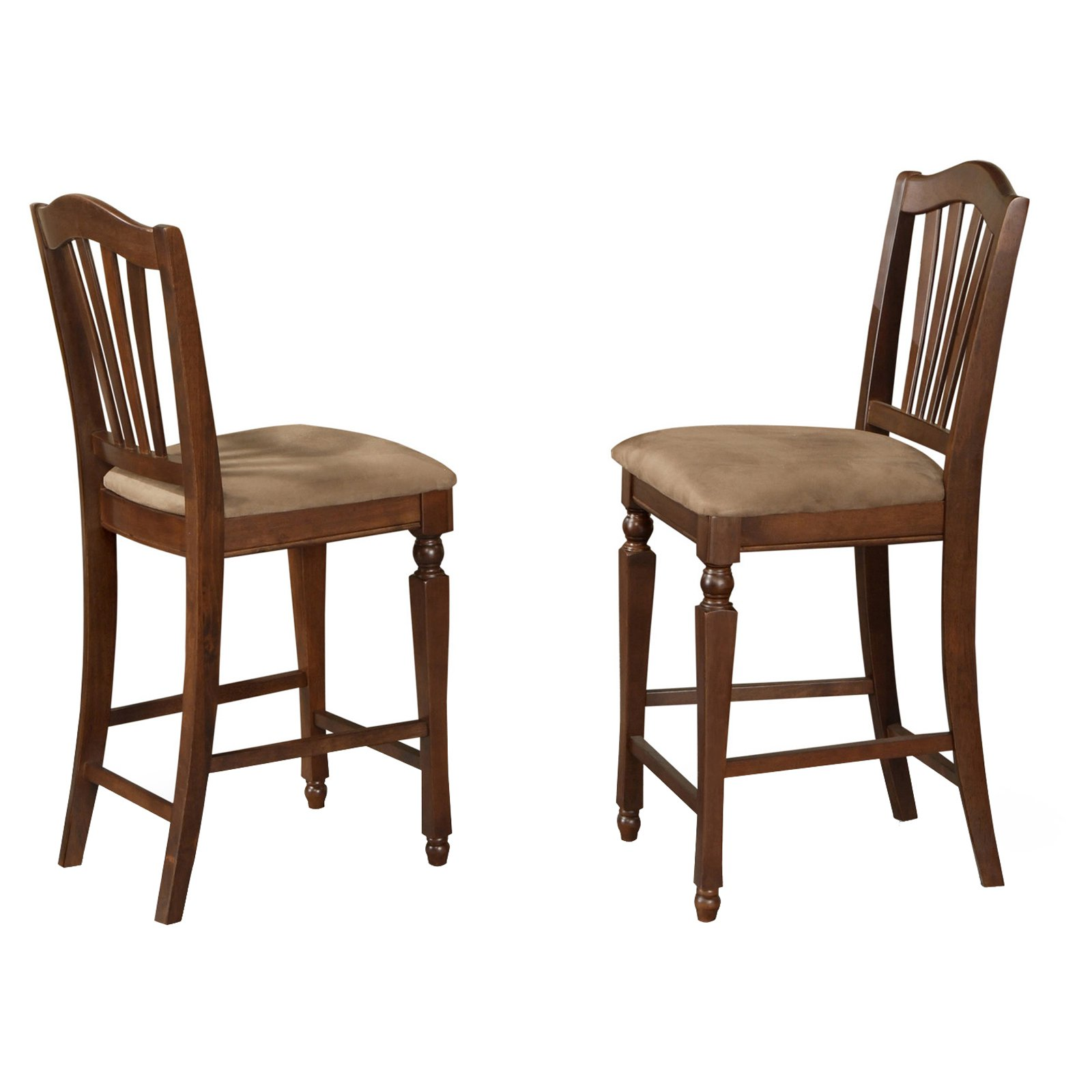 East West Furniture Chelsea Counter Height Dining Chair with Microfiber Seat - Set of 2