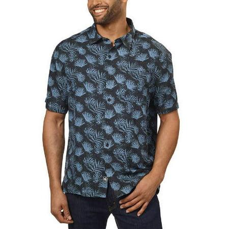 Nat Nast Men's Silk Blend Neat Traditional Fit Print Shirt, Black/Blue Palm (Black), X-Large