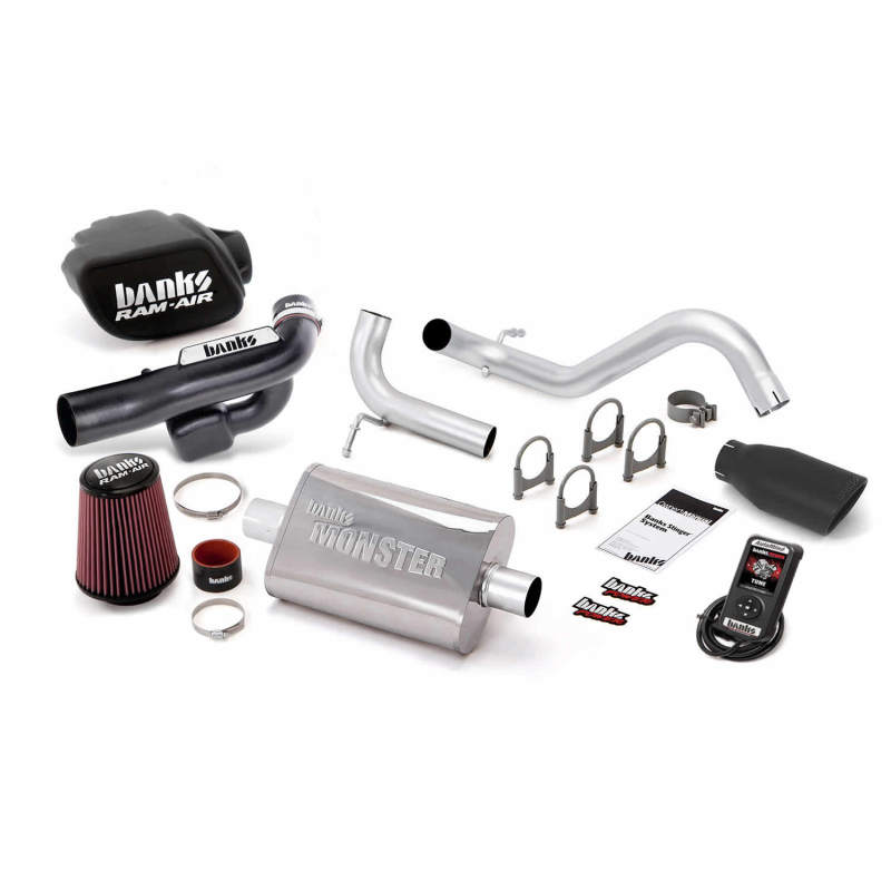 Banks Power 12-14 Jeep 3.6L Wrangler (All) 2dr Stinger Sys w/ AutoMind - SS Single Exh w/ Black Tip