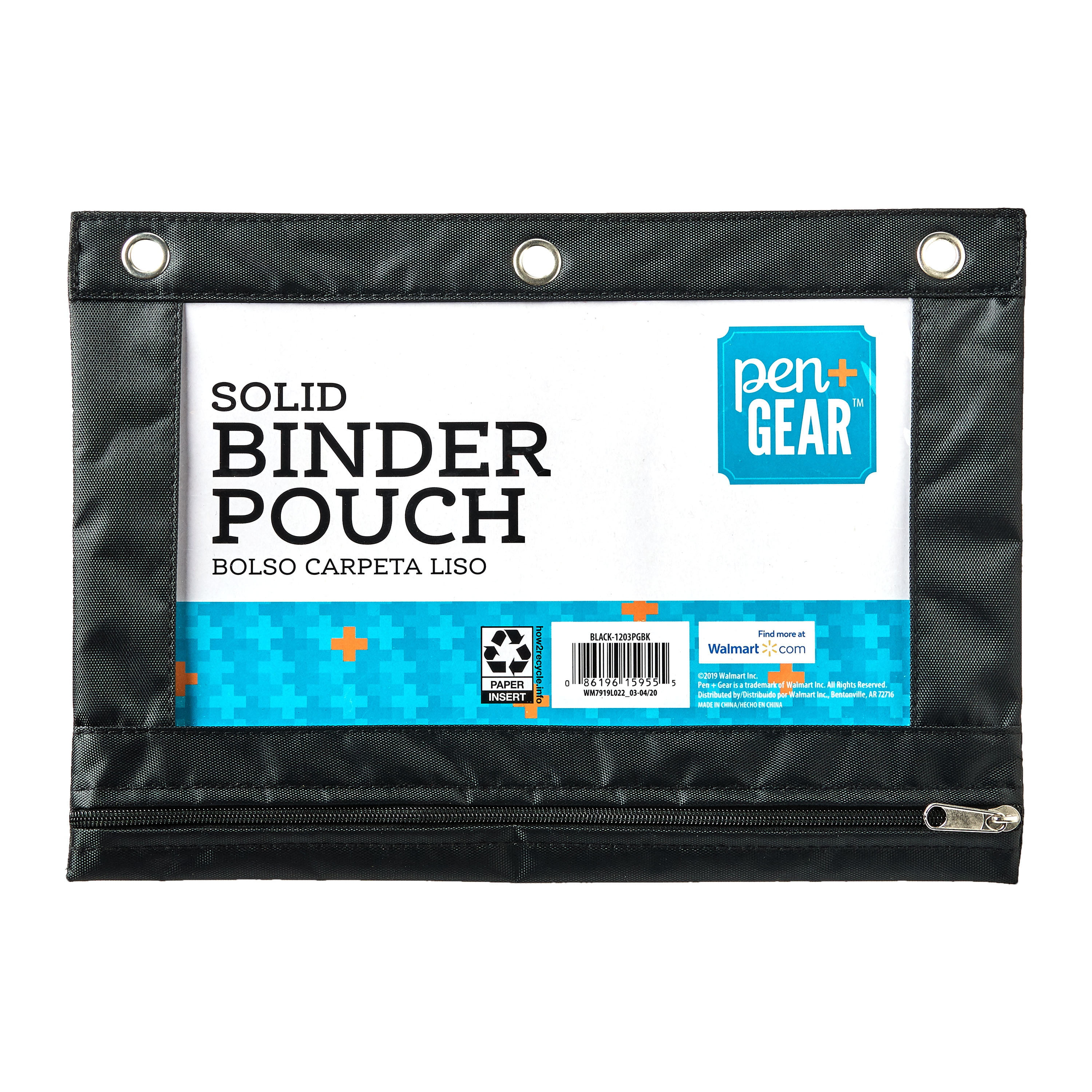 """Pen+Gear Solid Polyester Binder Pouch Pencil Case, Black, 10.25"""" x 7.25"""""""