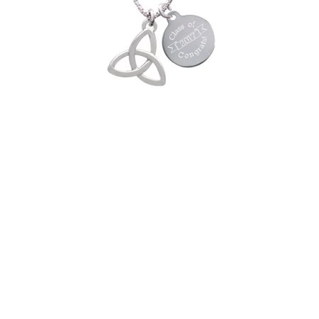 - Silvertone Large Trinity Knot Class Of 2017 Congrats Engraved Necklace
