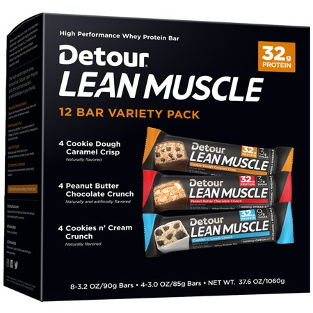 Detour Lean Muscle Protein Bar, Variety Pack, 32g Protein, 12 Ct