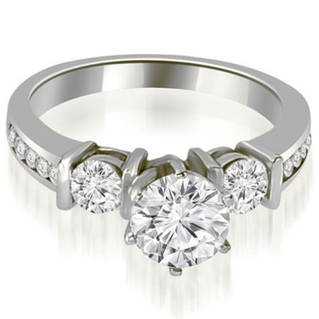 1.45 CT Bar Setting Princess & Round Cut Diamond Promise Ring in