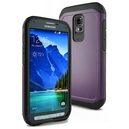 buy online 583d4 f9230 Samsung Galaxy S5 Active TPU Slim Rugged Hard Case Cover Purple