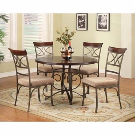 5 Piece Cherry Finish Wood - Powell 5 Piece Hamilton Dining Set, Cherry (Table and 4 Dining Chairs)