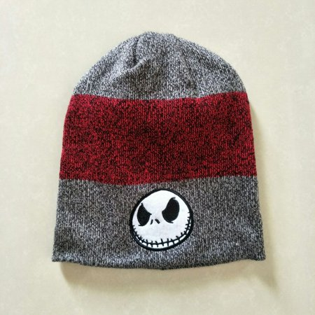 Nightmare Before Christmas Top Hat (Jack Skellington Nightmare Before Christmas Cuffless Knit Beanie Hat Cuff-less Burgundy)