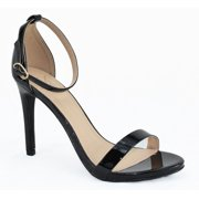 Delicious Shoes Women Ankle Strap High Heel Open Toe Formal/Casual Dress Sandals JAIDEN Black Nubuck Suede 5.5
