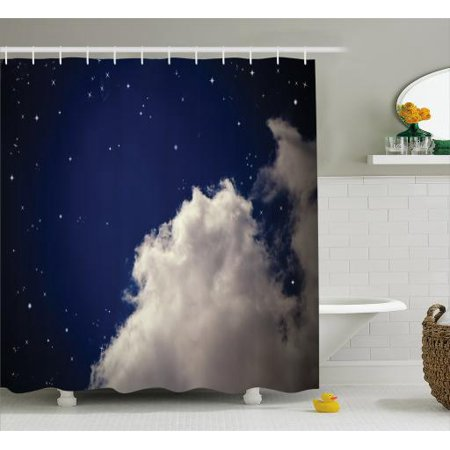 Cloud Shower Curtain Nocturnal Theme Realistic Illustration Of Night Time Sky Fabric Bathroom Set