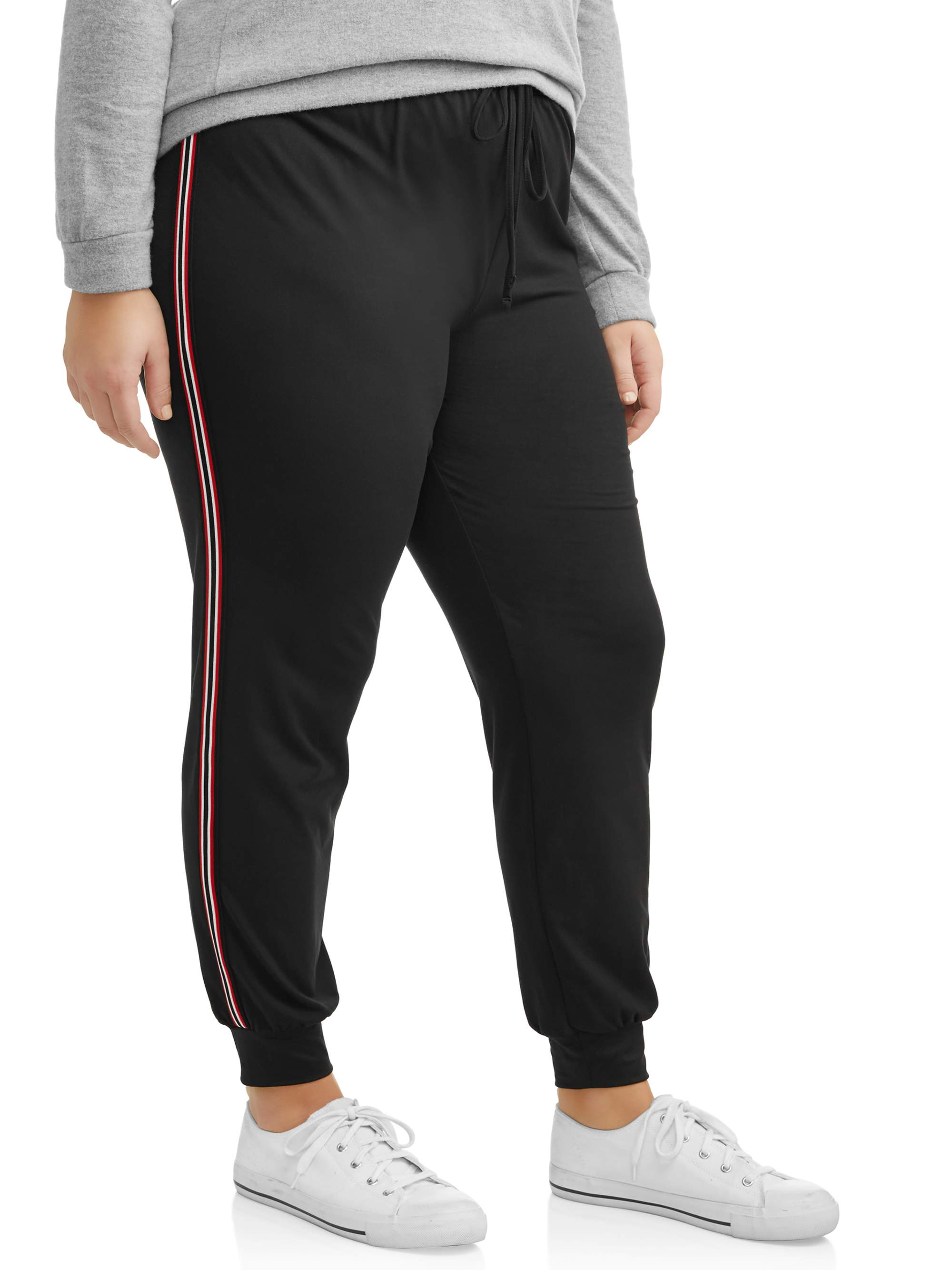 Juniors' Plus Size Super Soft Brushed Joggers with Varsity Stripe