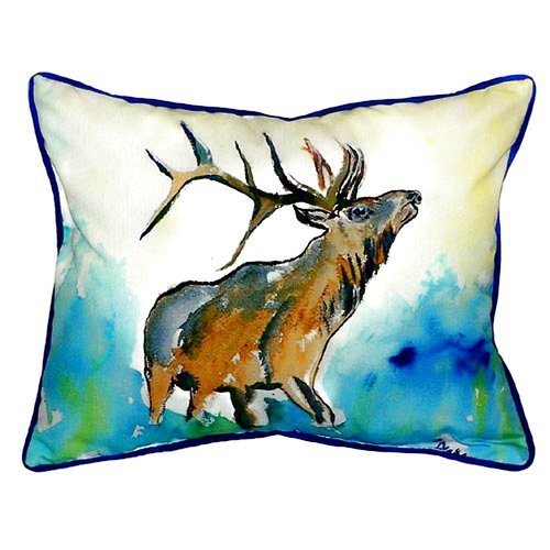 Betsy Drake Interiors Lodge Elk Indoor/Outdoor Lumbar Pillow