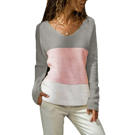 Women Long Sleeve V Neck Pullovers Block Loose Knitted Sweaters