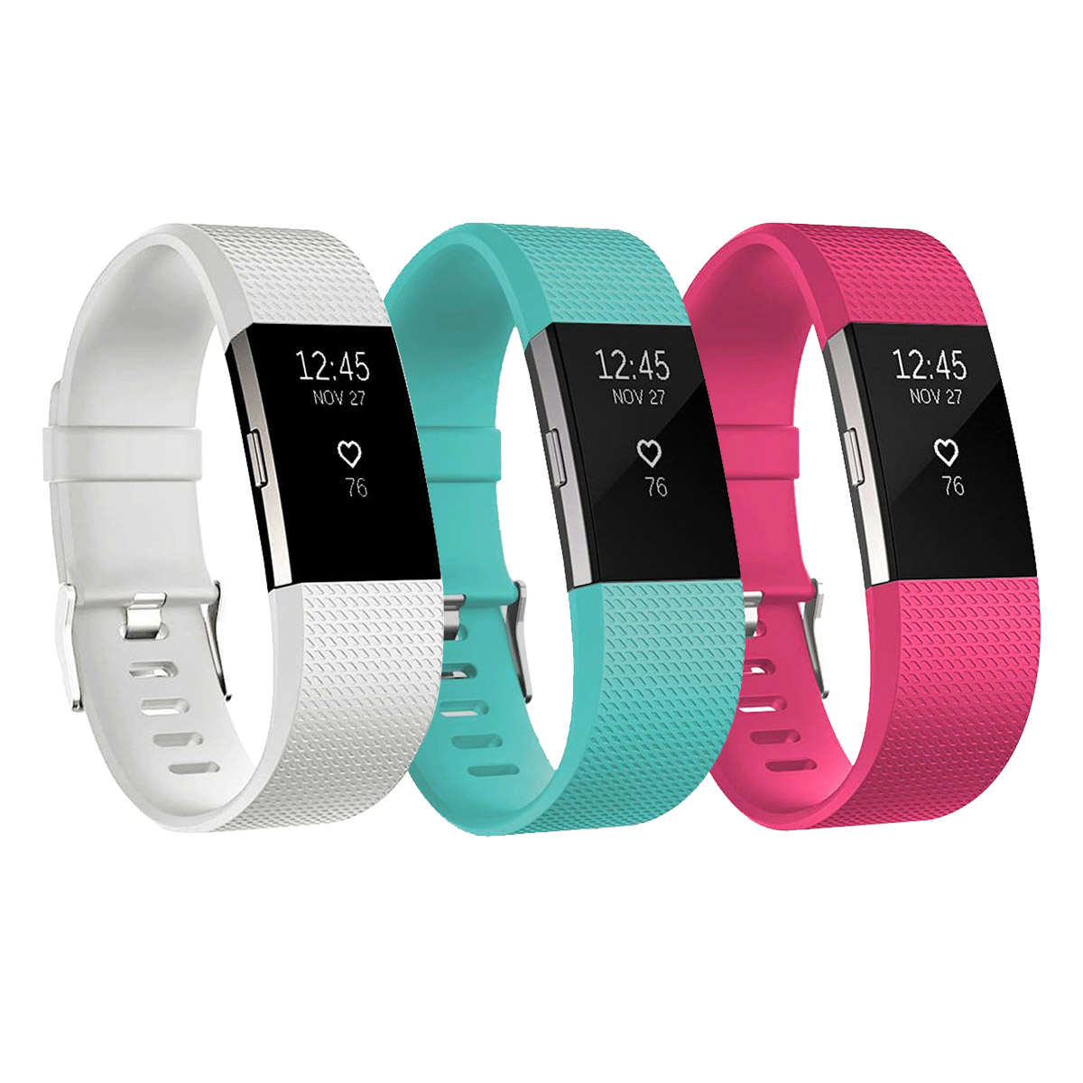 3-pack Soft Replacement Silicone Watch Band Wrist Strap for Fitbit Charge 2