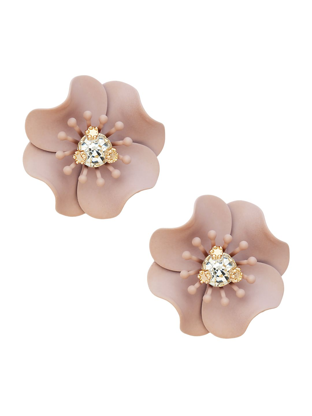 Goldtone and Glass Stone Flower Button Earrings