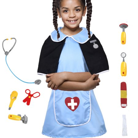Kid's Scrubs Doctor Role Play Costume Dress up Set with Doctor Medical Kit for Toddler Children Ages 3-6