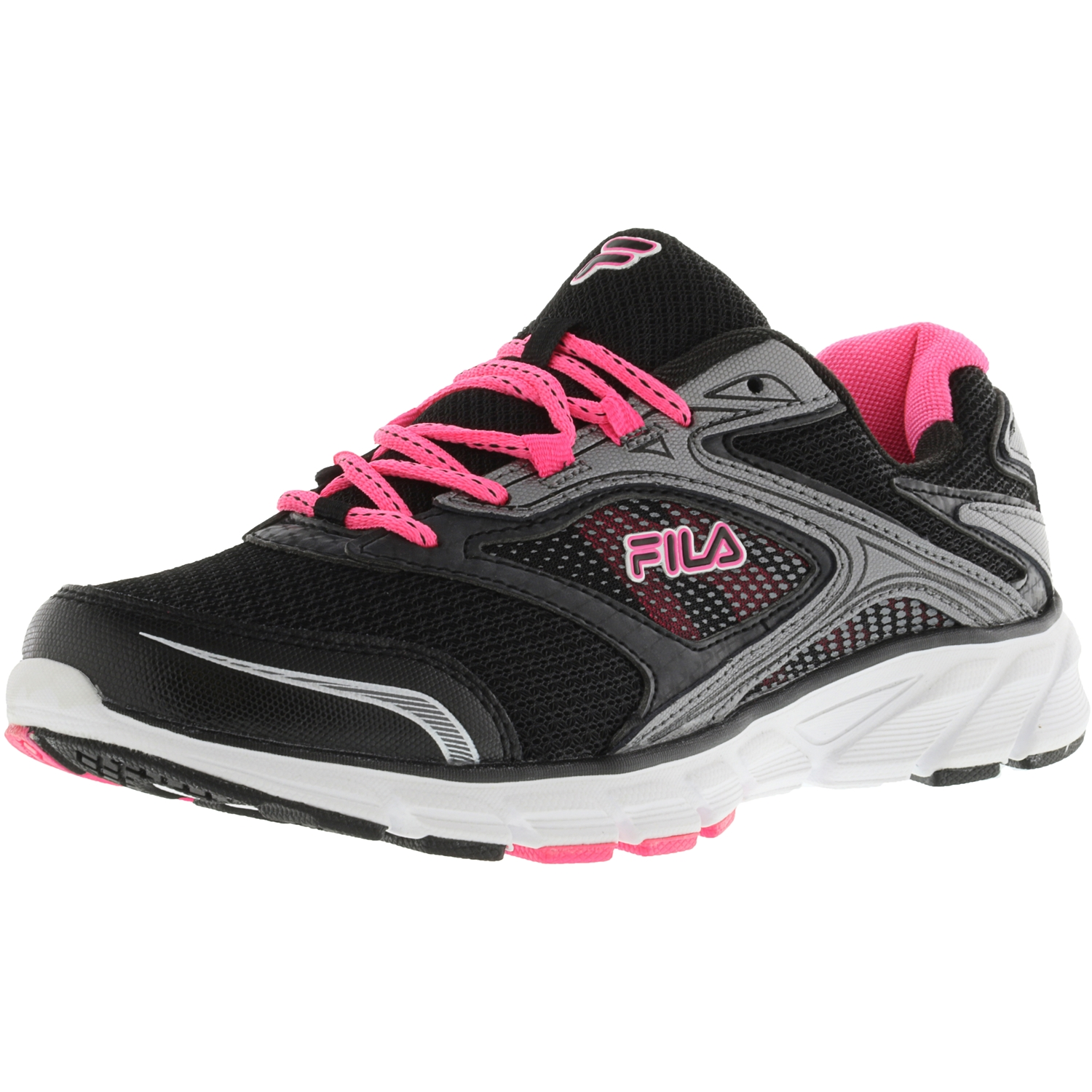 Fila Women's Stir Up Black   Dark Silver Knockout Pink Ankle-High Running Shoe 10M by Fila