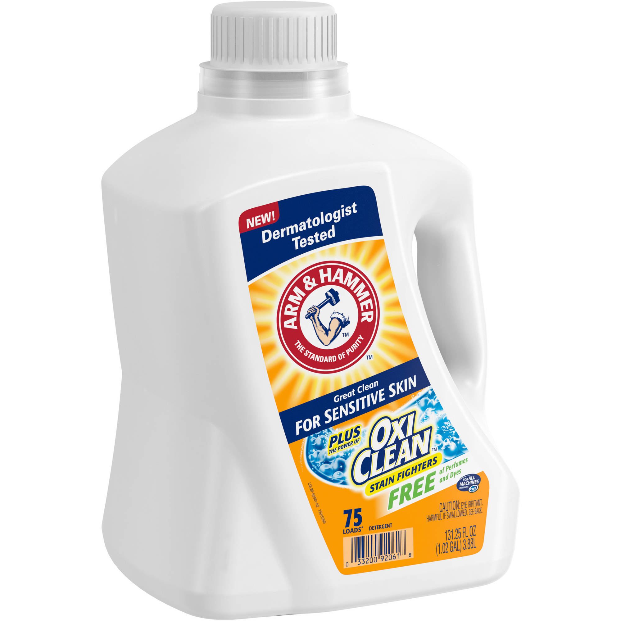 Arm & Hammer Sensitive Skin Plus OxiClean Liquid Laundry Detergent, 131.25 fl oz