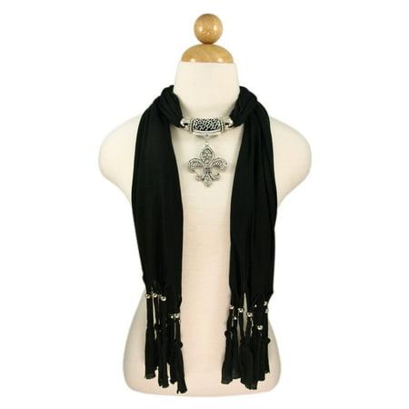 Scarf Jewelry Accessory - Elegant Charm Pendant Jewelry Necklace Scarf with Fleur de lis Medallion