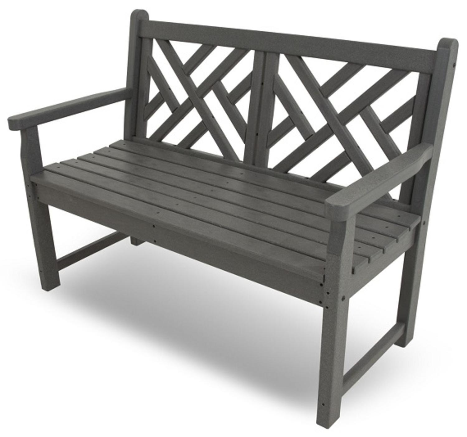 "48"" Recycled Earth-Friendly Outdoor Patio Chippendale Garden Bench- Slate Gray"