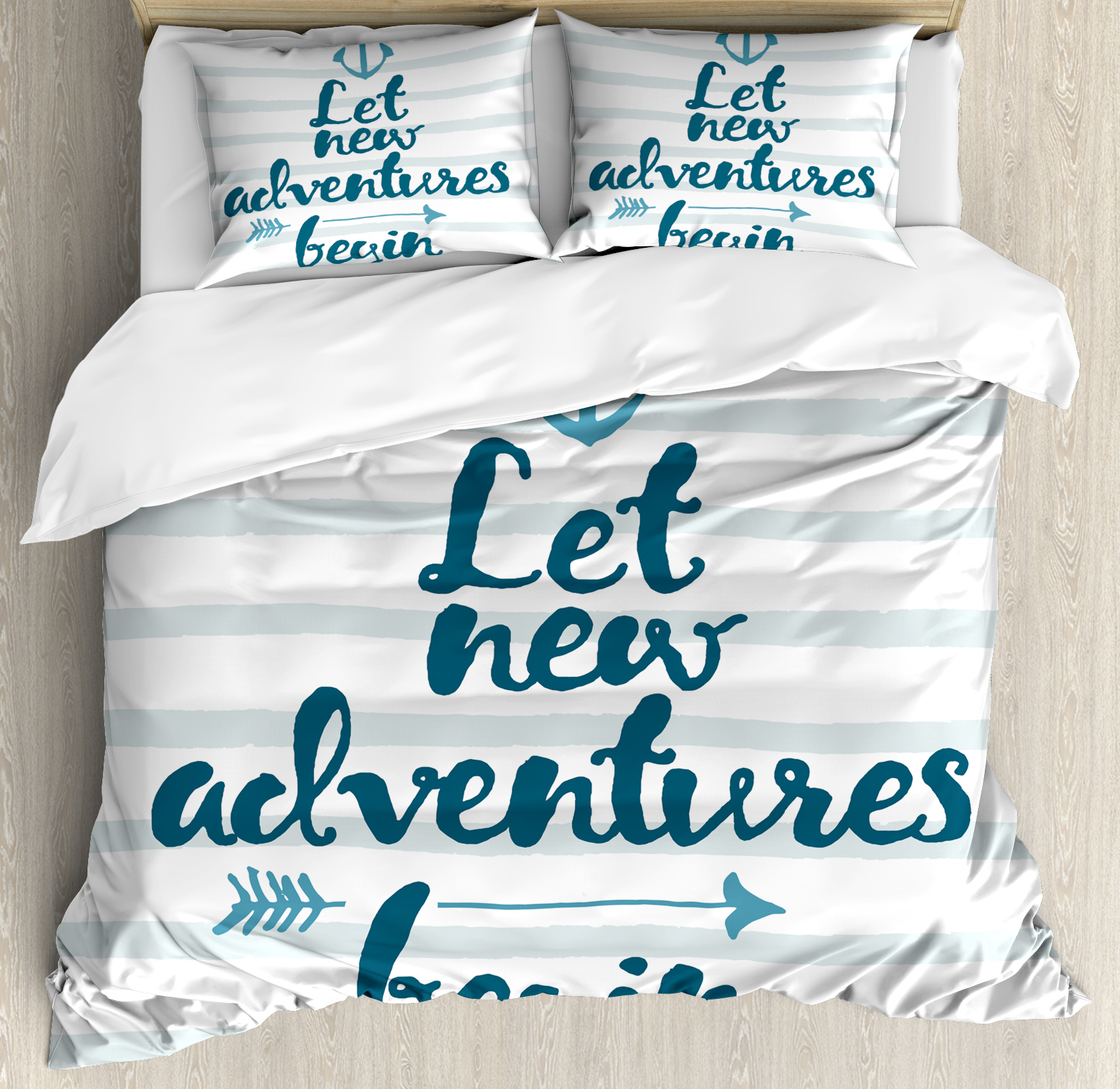 Adventure King Size Duvet Cover Set, Nautical Stripes Anchor and Arrow Motivational Text Sea Travel Cruise, Decorative 3 Piece Bedding Set with 2 Pillow Shams, Night Blue Pale Blue, by Ambesonne