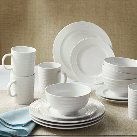 Better Homes & Gardens 16 Piece Porcelain Textured Edge Dinnerware Set, White Antique White Crackle Porcelain