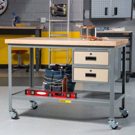 Mobile Drawer Bench - Little Giant Butcher Block Top Mobile Workbench with Drawers
