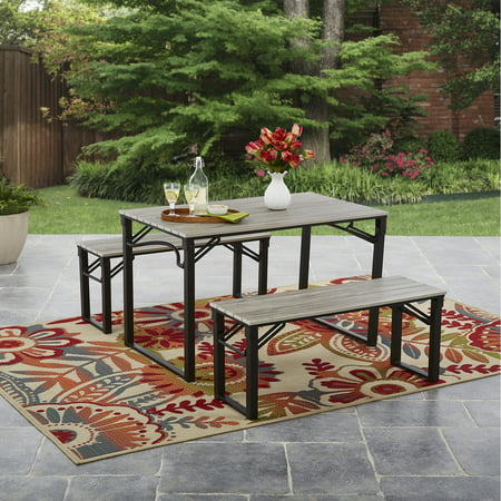 Mainstays Talan Faux Wood Folding Picnic Table and Bench Set ()