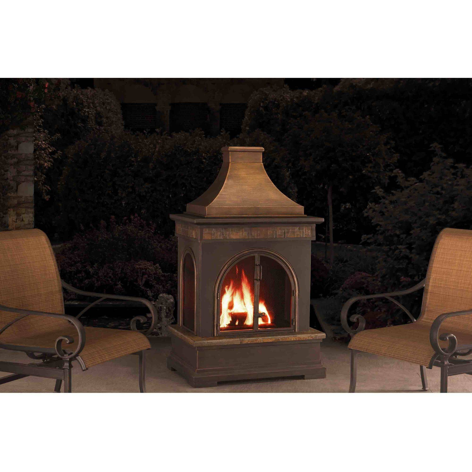 Sunjoy 110504012 Hardy 58 Slate and Steel Outdoor Fireplace by SunNest Services LLC