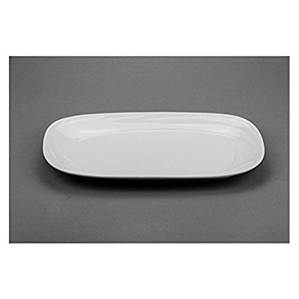 1 Round Serving Plate (Modern M88715, 15x9-Inch White Rectangular Porcelain Plate, Square Serving Platter Tray with Rounded Corners, Classic Serving Plate (1 Piece) )