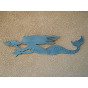 Handcrafted Decor B-Mermaid Wooden Rustic Ocean Blue Wall Mounted Mermaid Decoration, 44 inch