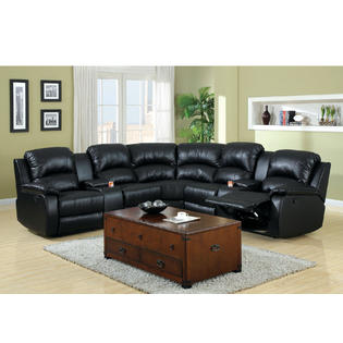 Banya Sectional Sofa Upholstered in Black Bonded Leather