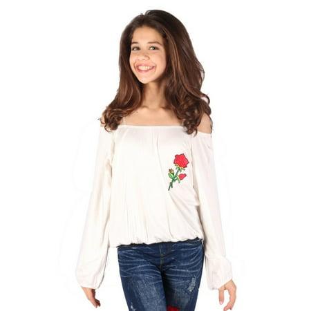 Lori & Jane Girls Ivory Red Gathered Rose Detail Off-Shoulder Shirt - Ivory Gathered