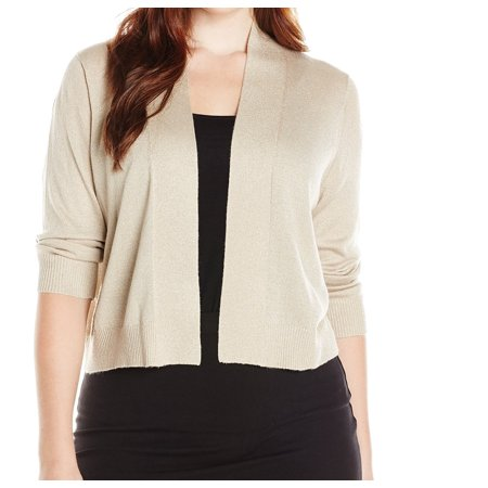 Calvin Klein NEW Beige Women's Size 1X Plus Gold Cardigan Sweater ...