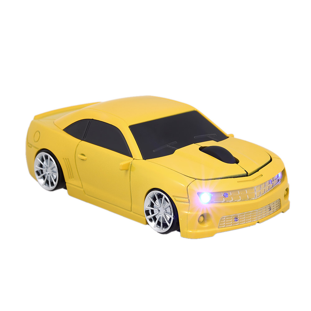 2.4G Wireless Car Mouse USB Computer Mice Car Shape 1000 DPI with LED Light Receiver for PC Laptop Yellow