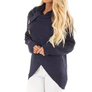 Women Cowl Neck Roll Sweater Autumn Winter Casual Knit Pullover