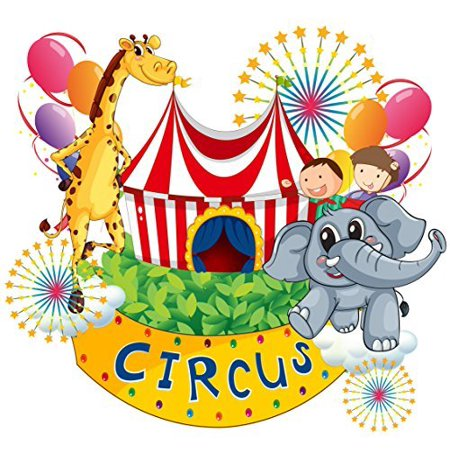 Circus Animals Birthday Edible Cake Image Topper 8 Inch Round ()