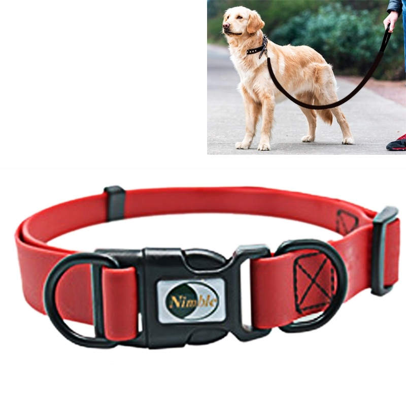 PVC Material Waterproof Adjustable Dual Loop Pet Dogs Collar, Suitable for Ferocious Dogs, Size: M, Collar Size: 30-47 cm - Red
