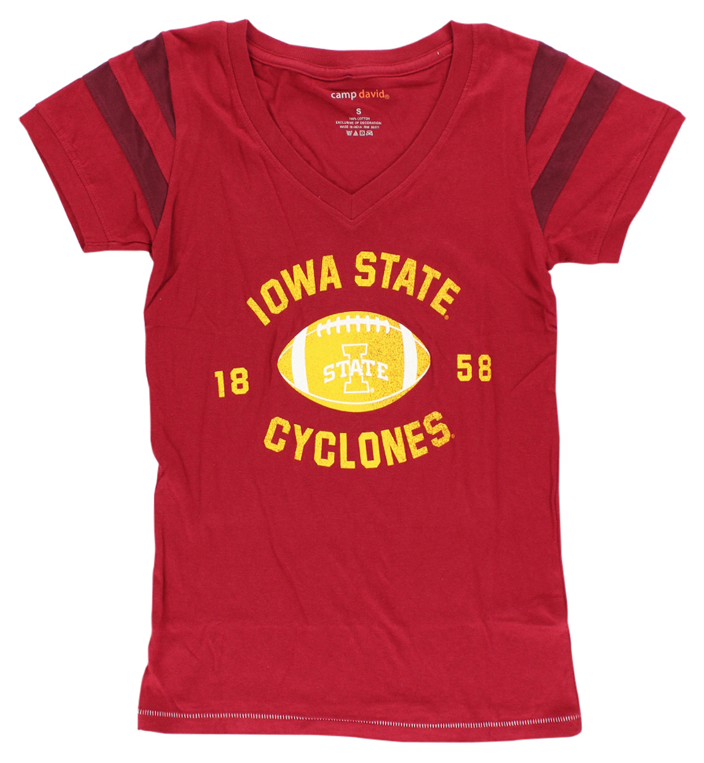 Camp David Womens Iowa State Cyclones College Kailey V Neck T Shirt Red