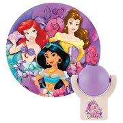 Projectables Disney Princesses LED Plug-In Night Light, Dusk to Dawn, Ariel, Belle, and Jasmine, 13230