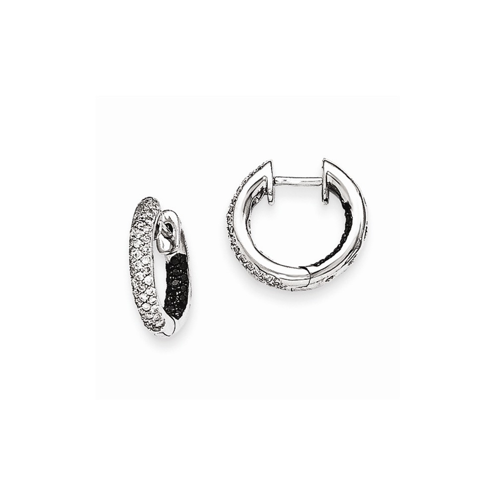 14k White Gold Black & Diamond In/Out Hinged Hoop Earrings. Carat Wt- 0.366ct (0.5IN Long)