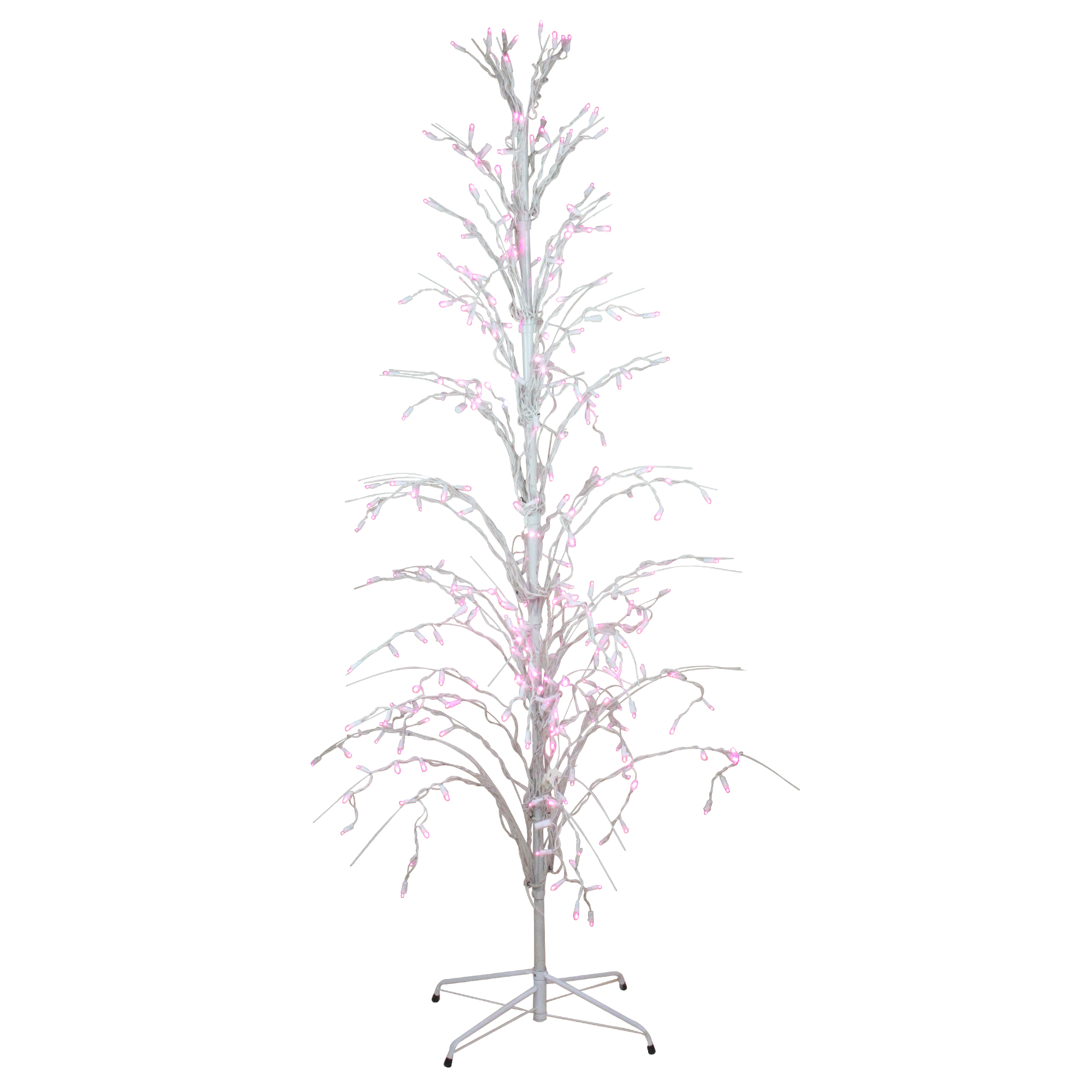 Outdoor White Twig Christmas Tree: 4' Pink LED Lighted Christmas Cascade Twig Tree Outdoor