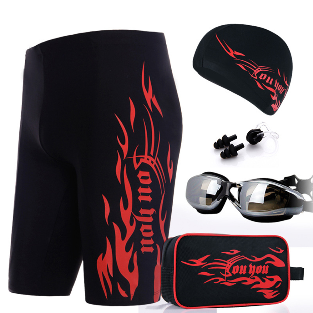 Men's Swimwear, Quick Drying Swimming Trunks Anti Fog Goggles and Swimming  Cap Set with Storage Bag Color:Silver Size:XL - Walmart.com - Walmart.com