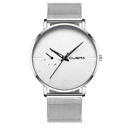 CUENA Men Women Fashion Simple Sport Stainless Steel Mesh Band Watch Couples Casual Business Quartz Watch