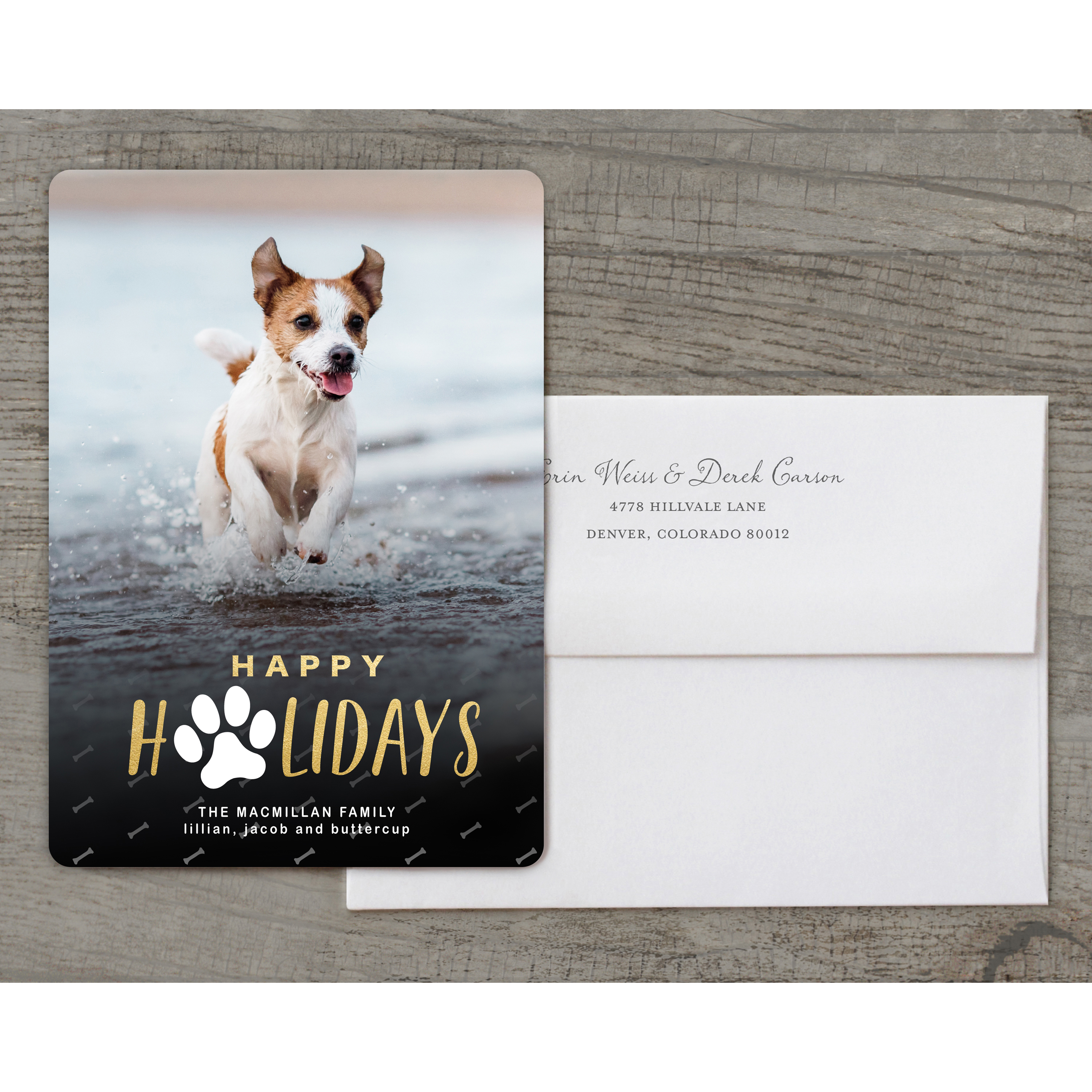 For the Love of Pets - Deluxe 5x7 Personalized Holiday Pet Holiday Card