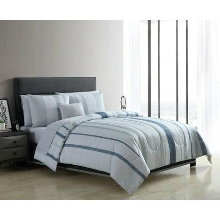 Mainstays Variegated Vertical Stripe Bed in a Bag Comforter Set ()
