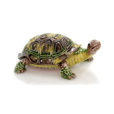 - Hinged Trinket Box TORTOISE ENAMELED BOX Metal Shell Reptile 3227.
