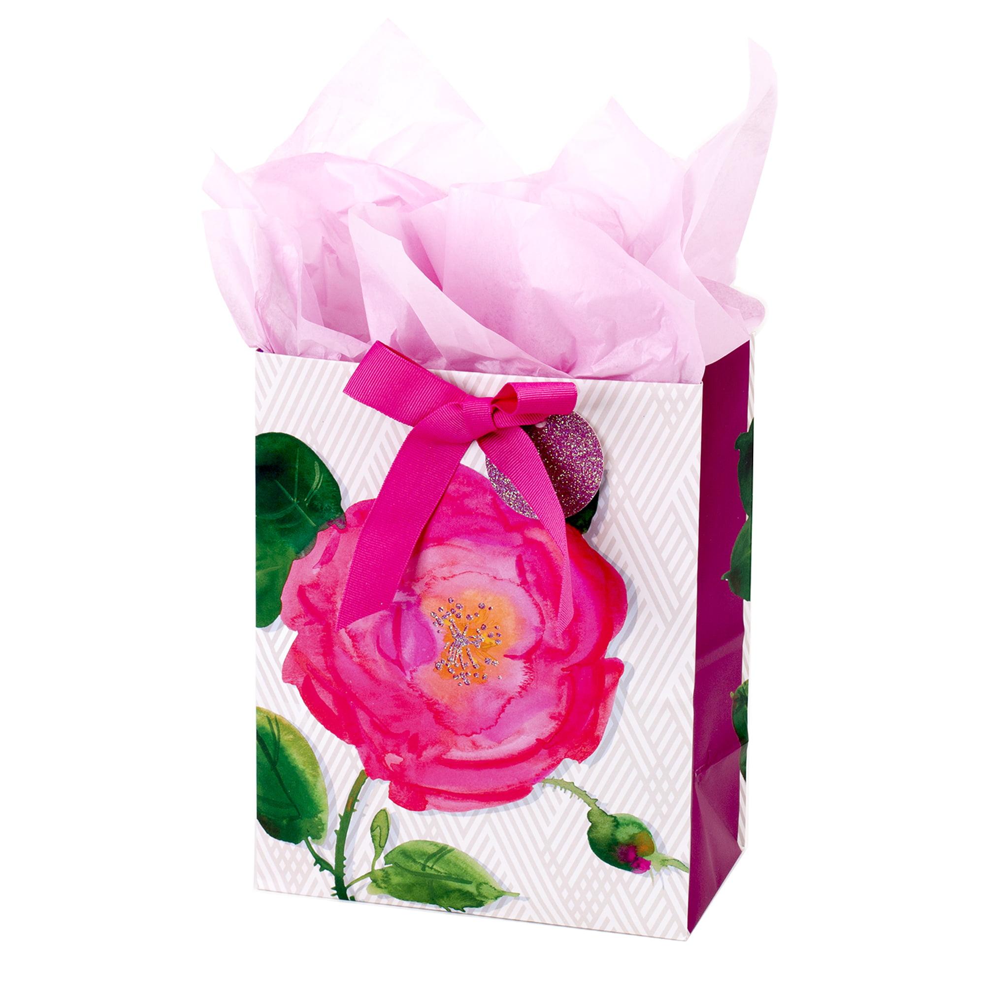 Hallmark, Medium Gift Bag with Tissue Paper, Pink Rose