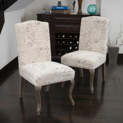 Denker Top French Script Beige Fabric Dining Chair (Set of 2) by NFusion