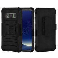 Samsung Galaxy S8 Active Case, Rugged TUFF Hybrid Armor Hard Defender Case with Holster - Black/ Black for Samsung GALAXY S8 Active